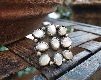 Sterling Silver Mother of Pearl Cluster Ring for Women Size 7.25, Navajo Native America Indian Jewelry