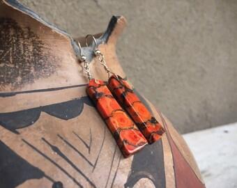 Orange Black Apple Coral Slab Earrings for Women, Native American Indian Style Jewelry
