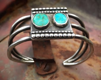 Early 20th Century Vintage Turquoise Cuff Bracelet for Women Men, Native American Indian Heirloom Jewelry Navajo Old Pawn, Anniversary Gift