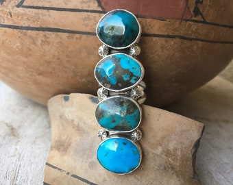 Large Navajo Turquoise Ring Size 8 for Women or Men, Native American Indian Jewelry, Anniversary Gift for Wife, Santa Fe Western Style