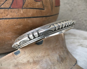 Signed Navajo Sterling Silver Stacking Bracelet for Women Small Wrist, Native American Indian Jewelry