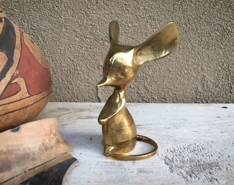 Mid Century Modern Solid Brass Mouse with Big Ears Curled Tail Figurine, Collectible Rodent Paperweight, Eclectic Home Decor Shelf Accent