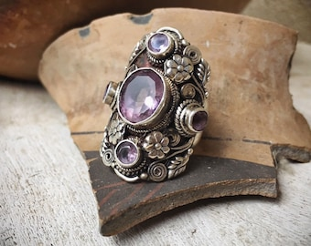 Large 925 Sterling Silver Purple Amethyst Ring for Women Size 8, February Birthstone Jewelry Bohemian
