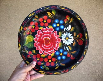 """11"""" Mexican Batea Hand Painted and Carved Wood Tray Decorative Plate, Southwestern Decor, Housewarming Gift Couple"""