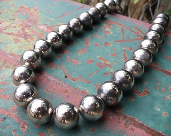 Vintage German Silver Bead Necklace for Women, Southwestern Jewelry Navajo Pearls Style
