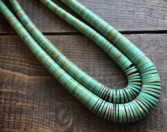Double Strand Thick Turquoise Heishi Necklace Women Men Unisex Jewelry, Native American Indian Santo Domingo Jewelry