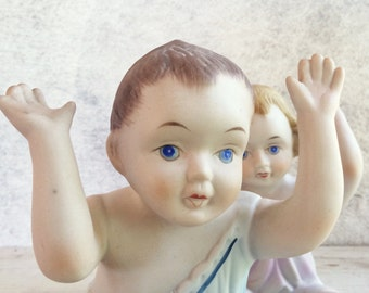 Large Porcelain Piano Baby Figurines, Kewpie Dolls, Piano Teacher Gift, Nursery Room Decor