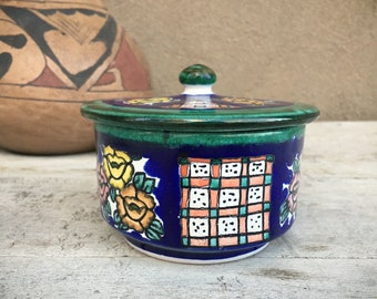 Talavera Trinket Box Candy Dish with Lid, Mexican Home Southwestern Decor, Pottery Stash Box