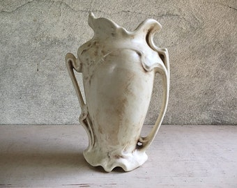 Art Nouveau Style Pottery Vase with Handles Matte White Signed GWB, Wedding Decor White Vase, Vintage Gift