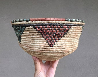 West African Coiled Basket Bowl in Faded Earthtone Colors, Bohemian Tribal Decor for Organic Home