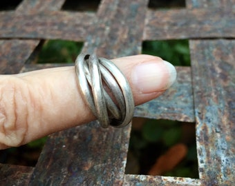 Vintage Silpada Five-Band Sterling Silver Interlocking Rolling Knot Ring Size 7, Russian Wedding