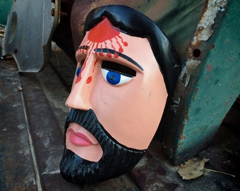 Carved and Painted Wood Mask Jesus Christ Crucified from Peru, Ethnographic Religious Folk Art
