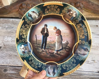 "Antique Zeh Scherzer & Co. Plate of ""The Angelus"" Royal Vienna Style Decorative Plate, Porcelain Plates, Gift for Christian, Daily Prayer"