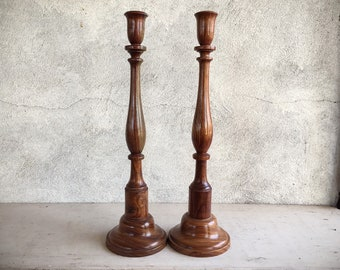 Vintage Pair of Hand-Turned Wood Tall Candlestick Candle Holders, Farmhouse Rustic Home Decor