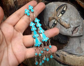 "4"" Turquoise Inlay Earrings by Zuni Vivianita Booqua, Native America Indian Sterling Silver Jewelry"