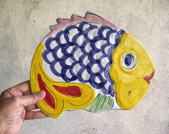 La Musa Ceramic Fish Trivet Made in Italy Ceramic Plates, Decorative Kitchen Decor Italian Pottery