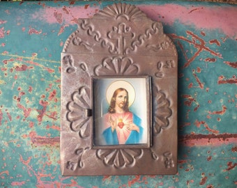 Vintage Mexican Tin Shrine Sacred Heart Wall Hanging, Catholic Hispanic Devotional Altar Art