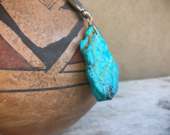 Vintage Silver Bead Necklace with Large Turquoise Nugget Pendant, Native American Indian Jewelry