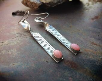 Signed Navajo Sterling Silver Pink Coral Earrings for Women, Native American Indian Jewelry