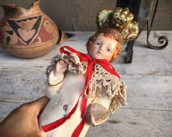 Vintage Chalkware Statue Holy Infant of Prague Religious Decor, Child Jesus Statue