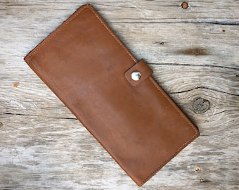 Vintage Genuine Leather Passport Folio with Snap Closure, Travel Wallet for Airline Tickets