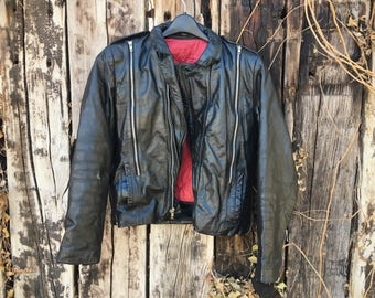 Black Leather Vintage Motorcycle Jacket Women's Size Small Bomber Jacket True Vintage