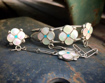 "1970s Delicate Mother of Pearl Turquoise Channel Inlay ""Slave Bracelet"" with Matching Ring"