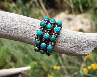 Old Pawn Zuni Turquoise Snake Eye Ring for Women Size 5, Native America Indian Jewelry