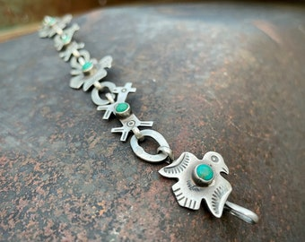 Fred Harvey Era Sterling Silver Thunderbird and Dog Link Bracelet w/ Green Turquoise, Route 66 Tourist Jewelry Navajo Native American Style