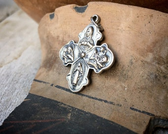 Vintage Holy Charm Four Way Cross Catholic Medal Medallion, I Am a Catholic Please Call Priest