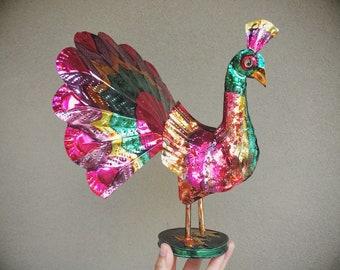 Mexican Tin Peacock Folk Art Statue Rustic Southwestern Decor, Tin Anniversary Gift Metal Decor