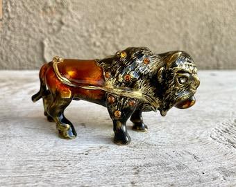 1980s Bejeweled Enamel Trinket Box Bison Figurine, Fancy Pillbox, Buffalo Ring Holder, Buffalove