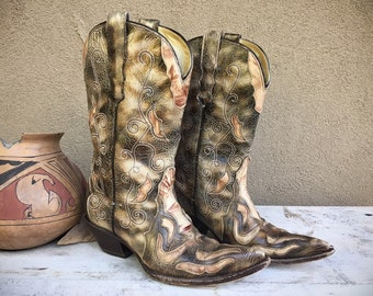 Vintage Cowboy Boots Women's Size 7.5B Tan Leather Cutout Cowgirl Boot Fall Autumn Neutral