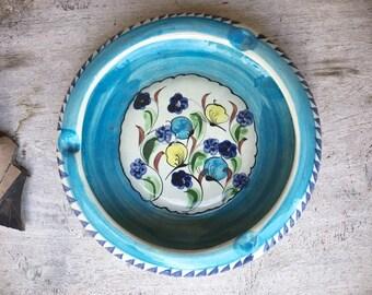 Vintage Tonala Pottery Ashtray in Teal Blue Color, Mexican Folk Art, Southwestern Decor