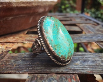 Vintage Men's Ring Size 10.5 Very Large Turquoise Stone, Native American Indian Jewelry