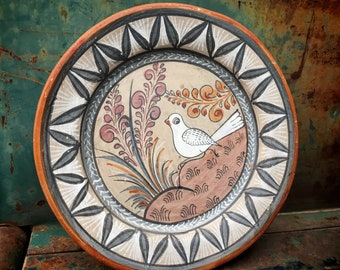 "Burnished Pottery Tonala Plate 8"" Wall Hanging Bird Design, Mexican Folk Art, Southwestern Decor"