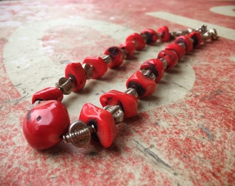 Vintage Chunky Red Bamboo Coral Bead Necklace with Silver Beads, Ethnic Jewelry, Southwestern Style
