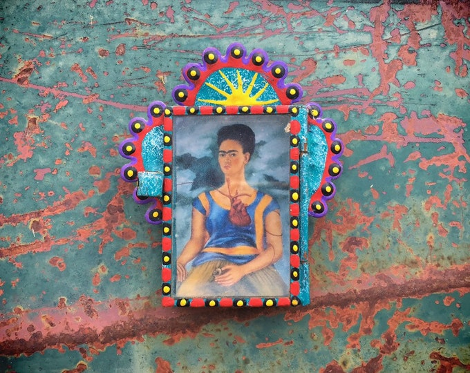 Featured listing image: Very Small Mexican Tin Nicho with Frida Kahlo Print, Traveling Altar Art, Mexican Decor, Artist Gift Friend Coworker, Tin Frame Wall Hanging