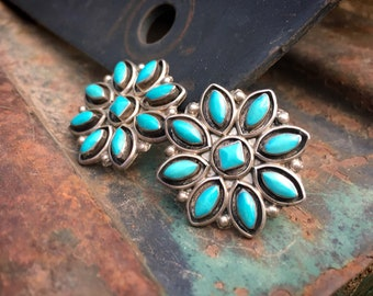 Medium Size Turquoise Petit Point Cluster Post Earrings for Women, Native America Indian Jewelry