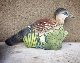 Artist Made Ceramic Roadrunner and Cactus Wall Plaque, Southwestern Office Decor, New Mexico Bird