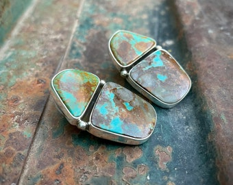 Matrixed Turquoise Earrings by Navajo Milton Lee, Native American Jewelry, Mother's Day Gift