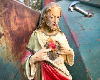 """Vintage Jesus Christ Sacred Heart Chalkware Statue 12.5"""", Altar Art, Catholic Gift for Family"""