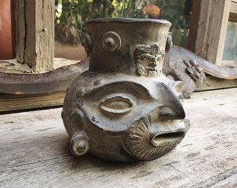 Vintage Reproduction Pre-Colombian Pottery Head or Portrait Vessel, Primitive Decor