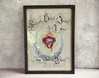 Vintage Sacred Heart I Place my Trust in Thee original art pen and ink drawing circa 1920s to 40s