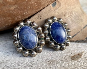 Vintage Sodalite Gemstone Clip On Earrings Taxco Mexico Sterling Silver, Estate Jewelry for Women