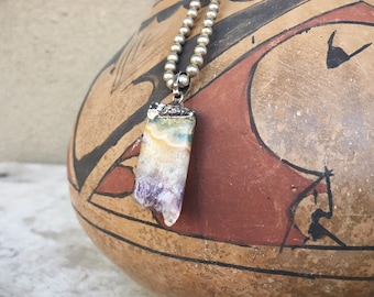 Vintage Rainbow Flourite Crystal Pendant with Sterling Silver Bead Necklace, Gems Minerals Jewelry