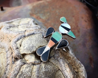 1970s Zuni Inlay Peyote Bird Turquoise Ring for Women Size 8, Native American Indian Jewelry