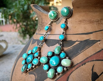 Turquoise Cluster Earrings for Women by Navajo Eleanor Largo, Native American Indian Jewelry