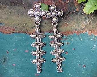 Modernist Navajo Sterling Silver Long Dangle Earrings for Women, Native American Indian Jewelry