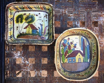 Old Mexican Pottery Tlaquepaque Dishes with House Designs Wall Plates, Rustic Decor Farmhouse